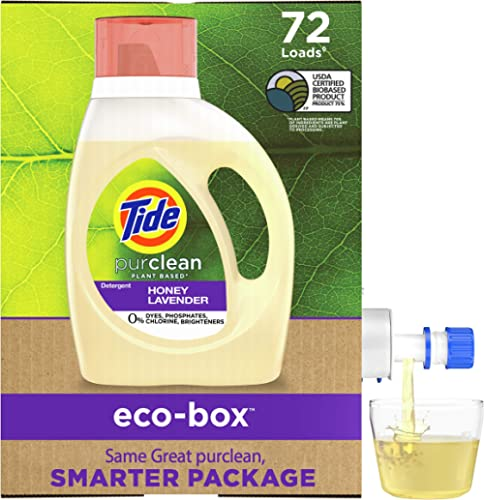 Tide Purclean, Plant Based Laundry Detergent Liquid Eco-Box, (Laundry Soap), Concentrated, Honey Lavender, HE Compati...