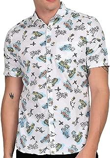 Tusok Men Short Sleeve Goa Shirt Casual Hawaiian Aloha Flower Floral Leaf Party Beach Vacation Printed White Fish Tree Car