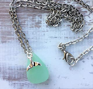 Whales Tail Pendant Necklace, Sea Glass Jewelry, Nautical Gifts, Dainty Necklace 24 inches