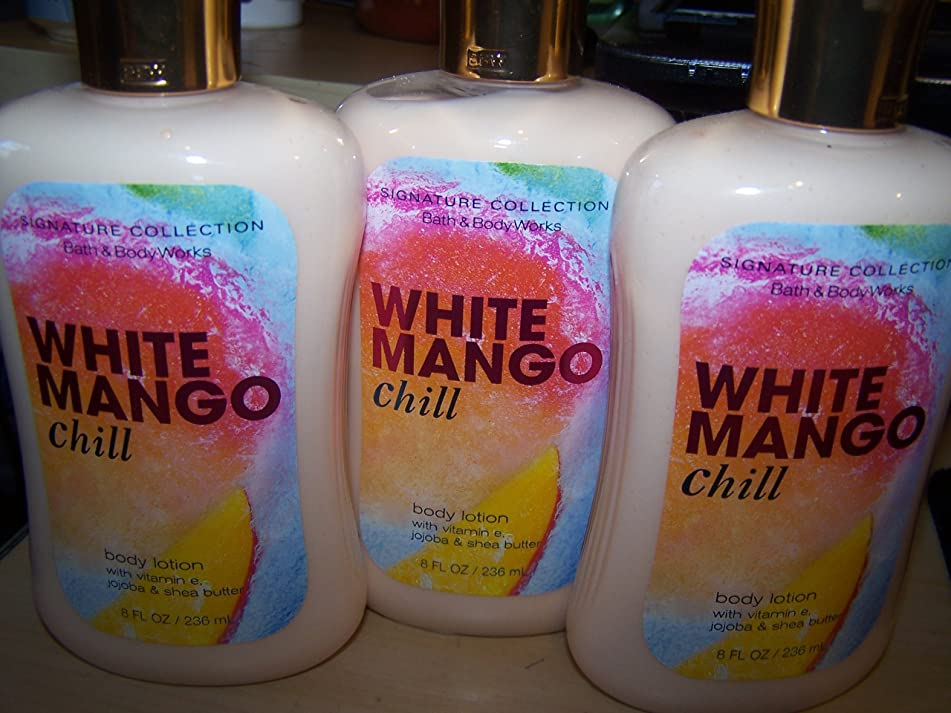 Lot of 3 Bath & Body Works White Mango Chill Body Lotion 8 Fl Oz Each- Limited Edition (White Mango Chill)