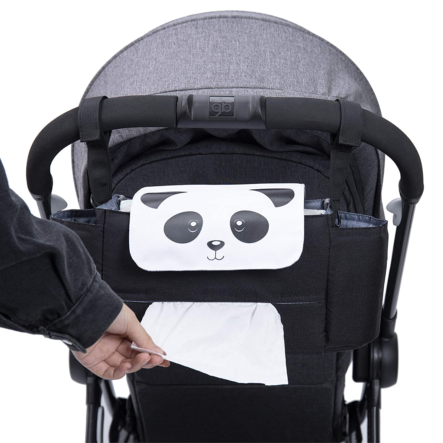 Orzbow Baby Stroller Organizer with Cup Holders and Diaper Bag,Stroller Accessories Organizer Bag,Baby Stroller Hanging Bag, Large Storage Space Baby Travel Bag (Panda)