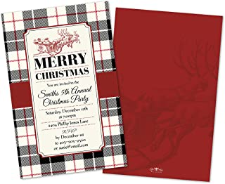 Vintage Santa Plaid Personalized Christmas Party Invitations