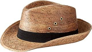 MEXIMART Mexican Palm Leaf Dark Tan Straw Wide Brim Fedora Hat, Black Hatband w/Grommets