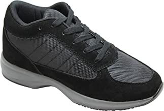 Calden Men's Invisible Height Increasing Elevator Shoes - Black Suede Leather/Mesh Lightweight Trainer Sneakers - 3 Inches Taller - FD014