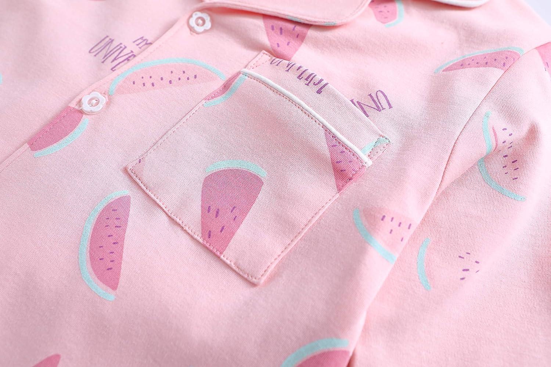 ABClothing Conjuntos de Pijamas de algod/ón a Juego para ni/ñas y Mujeres Conjunto de Pantalones Largos con Botones PJ Ropa de Dormir Edad de 4 a 14 a/ños S M L