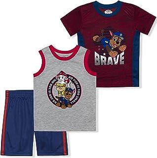 Nickelodeon Boy's 3-Pack Paw Patrol Brave Tee, Sleeveless Shirt and Mesh Short Set