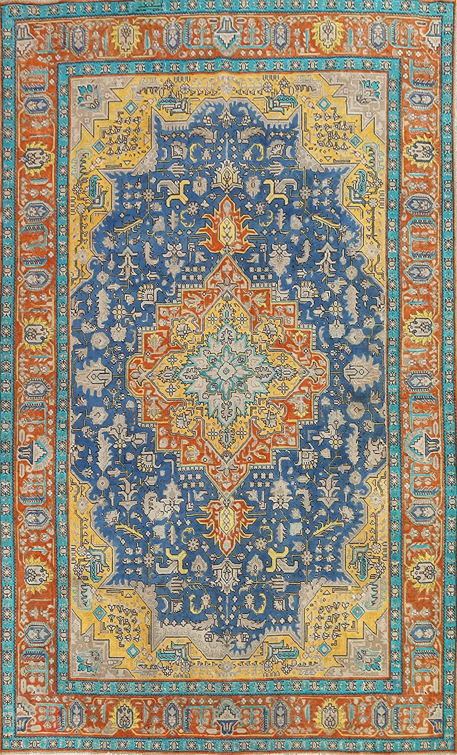 Vintage Blue Geometric Oriental trend rank Tebriz Area Woo Same day shipping Rug Hand-Knotted