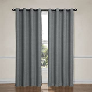 """ECLIPSE Bobbi Thermal Insulated Single Panel Grommet Top Darkening Curtains for Living Room, 52"""" x 95"""", Pewter"""