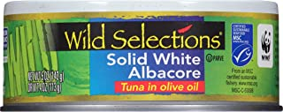 WILD SELECTIONS Solid White Albacore Tuna in Olive Oil, 5 Ounce Can (Pack of 4), Canned Tuna Fish, Wild Caught Tuna, High ...