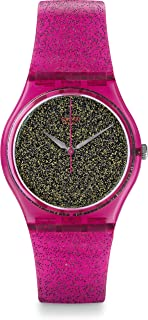 Swatch Women's 34mm Pink Plastic Band & Case Quartz Gold-Tone Dial Analog Watch GP149