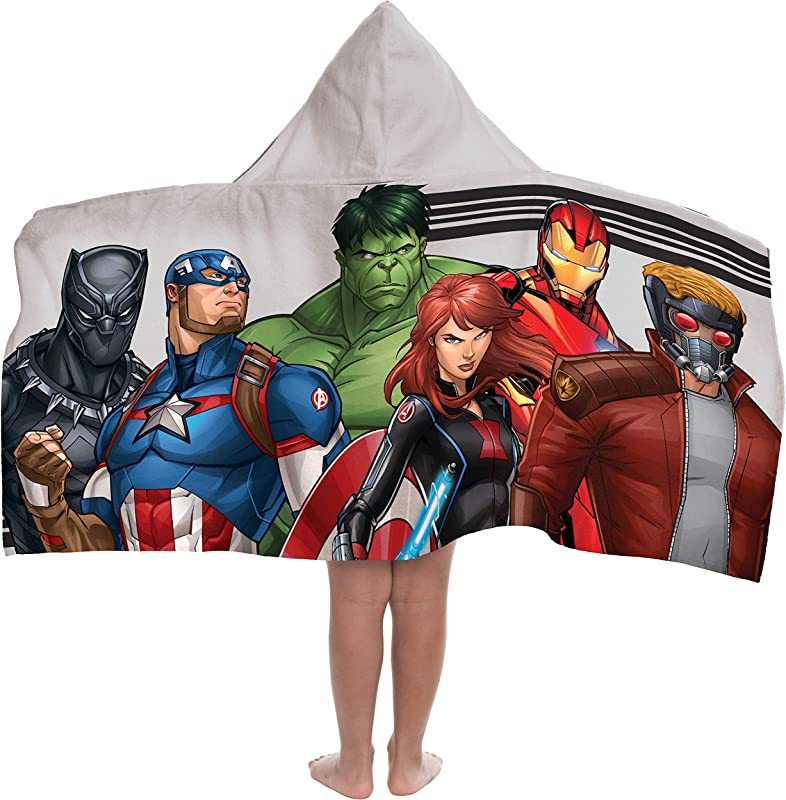 Jay Franco Marvel Avengers Hooded Bath Pool Beach Towel Gray