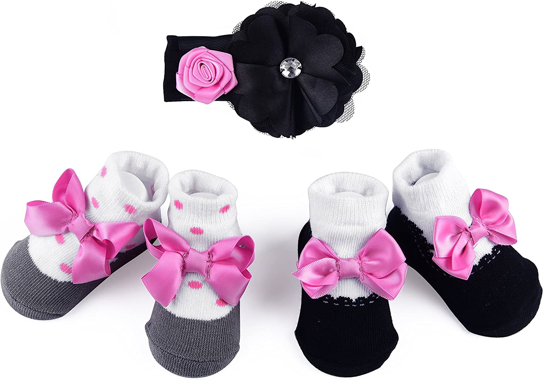 Baby Girl NewBorn Gift Set Headband and Socks - Bowknots Socks Lace - 0-6 Months - Truffilio Babies & Kids (Pink, Girl)