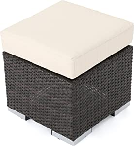 Great Deal Furniture Malibu Outdoor 16 Inch Multibrown Wicker Ottoman Seat with Beige Water Resistant Cushion (Set of 2)
