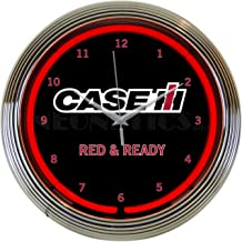 Neonetics Case IH International Harvester Ready Clock 15 Inch Diameter with Chrome Rim and Red Neon – 8CASEC
