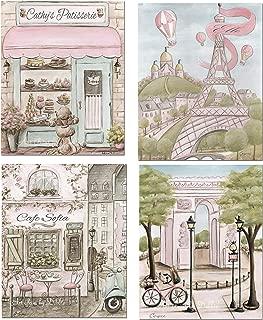 Paris Bedroom Decor, Vintage Paris, Set Of 4, Shabby Chic, Personalized, French Nursery Decor, 6 Sizes 5x7 to 24x36