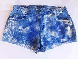 Denim Shorts, Cut-Off, Upcycled, Jean, Bleached, Distressed, Purple, Faded, Ralph Lauren, 16W