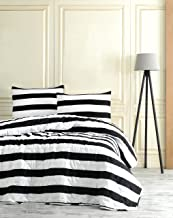 Black and White Stripped Bedding, Single/Twin Size Bedspread/Coverlet Set, Kids Bedroom, 2 PCS,