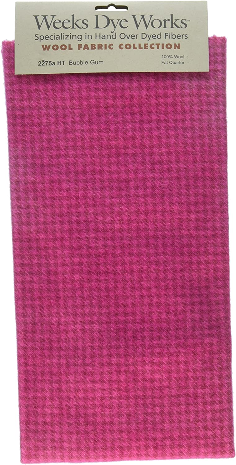 Weeks Dye Works Wool Fat Quarter Houndstooth Fabric, 16  by 26 , Bubble Gum