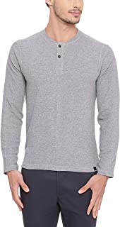 BASICS Muscle Fit Heather Grey Henley T Shirt