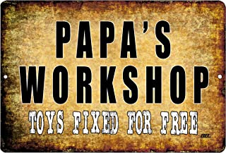 Rogue River Tactical Funny Grandfather Grandpa Repair Shop Metal Tin Sign Wall Decor Garage Man Cave Papa's Workshop