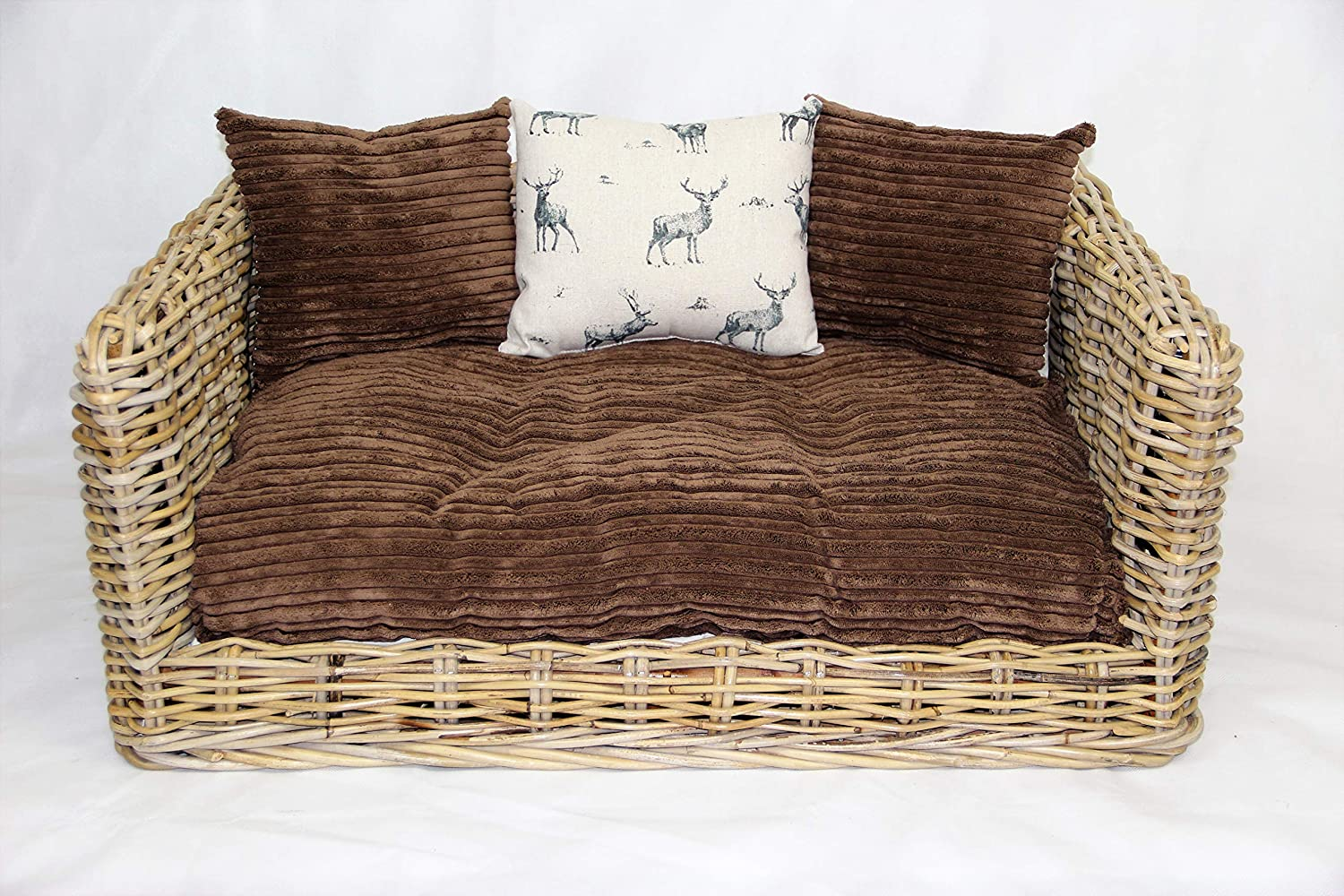 Rattan Dog Cat Sofa Bed available in 3 sizes BROWN WITH STAG CUSHIONS (SMALL)