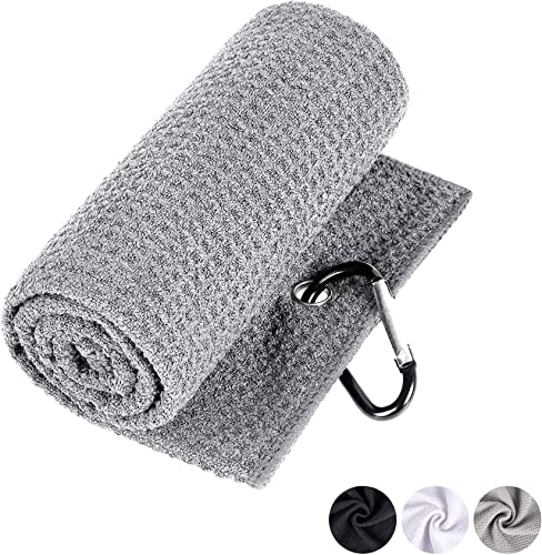 high quality labworkauto Golf Towel Microfiber Waffle Tri-fold with Heavy Duty Carabiner 2021 Clip Black White online Gray outlet sale