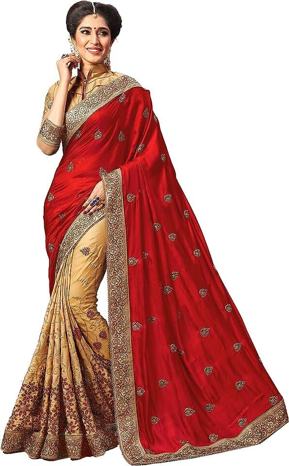 Indian Panash Trends Women's Satin Silk Heavy Embroidery Work Saree Saree