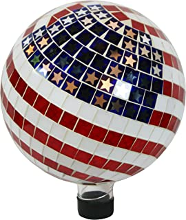 Alpine Corporation Mosaic American Flag Gazing Globe - Mosaic Glass Sphere with Neck  - Outdoor Yard Art Decor - 10