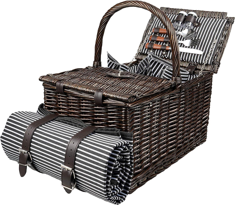 Picnic Basket LuxLiving Lifestylin Wholesale specialty shop 18X17X12 Dark Brown Deluxe