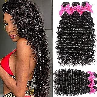 9A Brazilian Virgin Hair Pineapple Deep Wave 3 Bundles (28 28 28) Brazilian Human Hair Bundles 100% Unprocessed Virgin Remy Hair Bundles Natural Color