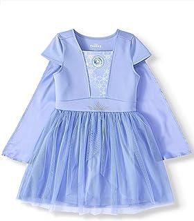 Disney Frozen II Big Girls Elsa or Anna Tutu Dress with Cape (Elsa Blue, Medium 7/8)