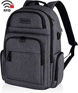 KROSER Travel Laptop Backpack Stylish 15.6 Inch Computer Backpack Water-Repellent School Daypack with RFID Pockets USB Charging Port for Work/Business/College/Men/Women-Charcoal Black