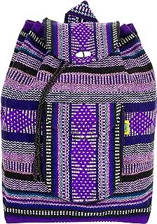 PINZON ESCOLAR Hippie Backpack Baja Canvas School Bag Mexican Aztec Mexico Beach