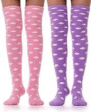 Girls Womens Over Knee High Fuzzy Socks Stockings Fluffy Soft Warm Cozy Cute Long Winter Christmas Socks 2 Pairs
