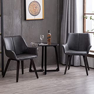 Homy Grigio Modern Leatherette Dining Room Accent Arm Chairs Club Guest with Solid Wood Legs (Set of 2,Charcoal)