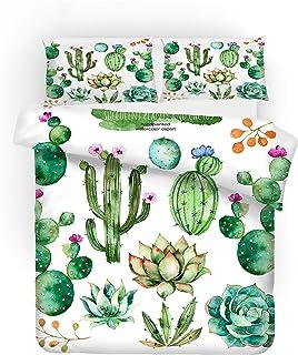REALIN Funda Nórdica Cactus Juego De Ropa De Cama Hoja Verde Flamenco Colcha 2/3/4PCS Fundas De Edredón Nórdico/Almohada/Sábanas,para Cama 90/135/150/180 (Cama 80/90(140×210cm)-3PCS,A)