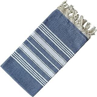 Dandelion - Basic Pattern - Naturally-Dyed Cotton Turkish Towel Peshtemal - 71x39 Inches - Jean Blue