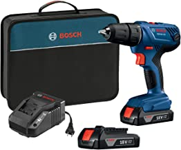 "Bosch 18V Compact 1/2"" Drill/Driver Kit with (2) 1.5 Ah Slim Pack Batteries GSR18V-190B22"