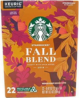 Starbucks Fall Blend Medium Roast Single-Cup Coffee for Keurig Brewers, 1 Box of 22 (22 Total K-Cup Pods)