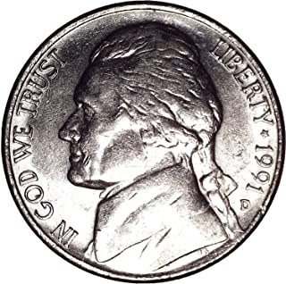 1991 D Jefferson Nickel 5C About Uncirculated
