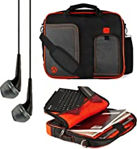 VanGoddy Pindar Messenger Carrying Bag for efun Nextbook Ares and Flexx 10.1 to 11.6 inch Tablets and VanGoddy Headphones (Red)