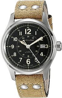Men's H70595593 Khaki Field Analog Display Swiss Automatic Brown Watch