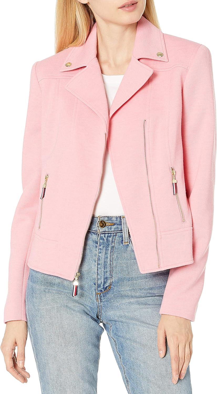 Tommy Hilfiger womens Tommy Hilfiger Pique Knit Zip Front Moto Jacket. Notch Collar