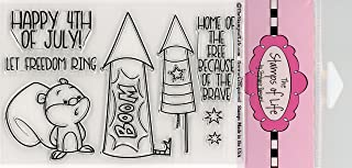 4th of July Stamps for Card-Making and Scrapbooking Supplies by The Stamps of Life - Independence Day Fireworks Squirrel