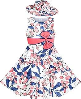 Sunny Fashion 2 Pecs Girls Dress Hat Flower Summer Party Holiday Princess Child