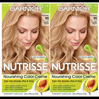 Garnier Hair Color Nutrisse Nourishing Creme, 90 Light Natural Blonde (Macadamia), 2 Count