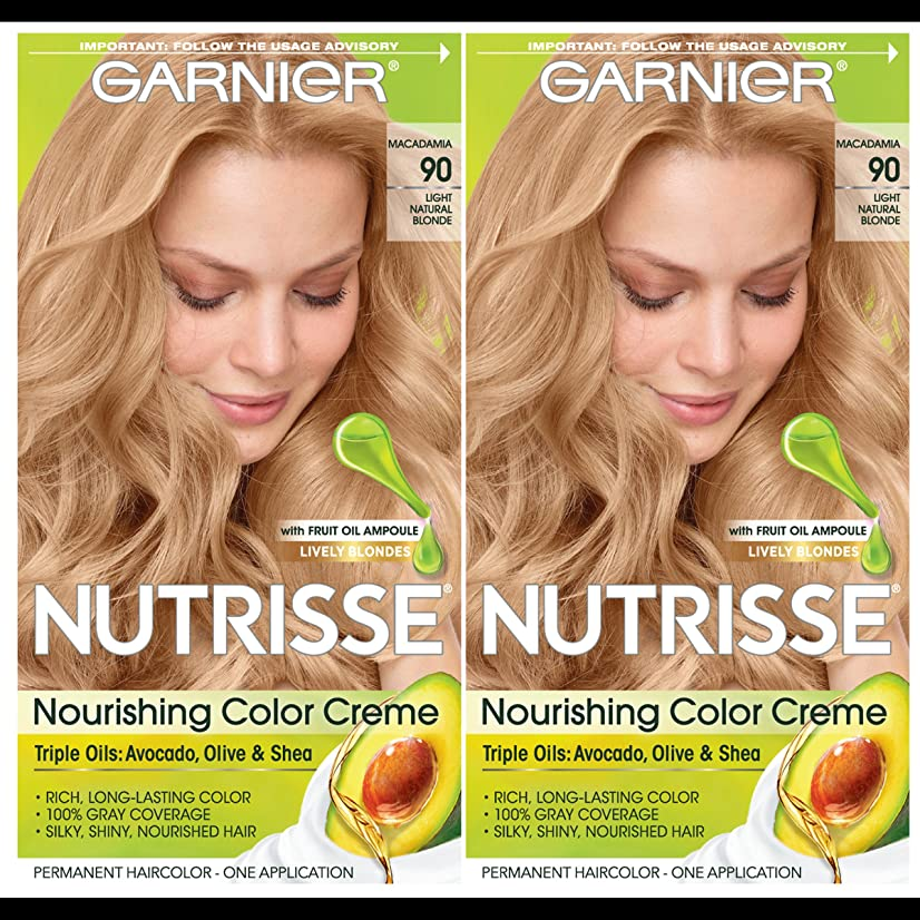 Garnier Hair Color Nutrisse Nourishing Creme, 90 Light Natural Blonde (Macadamia), 2 Count