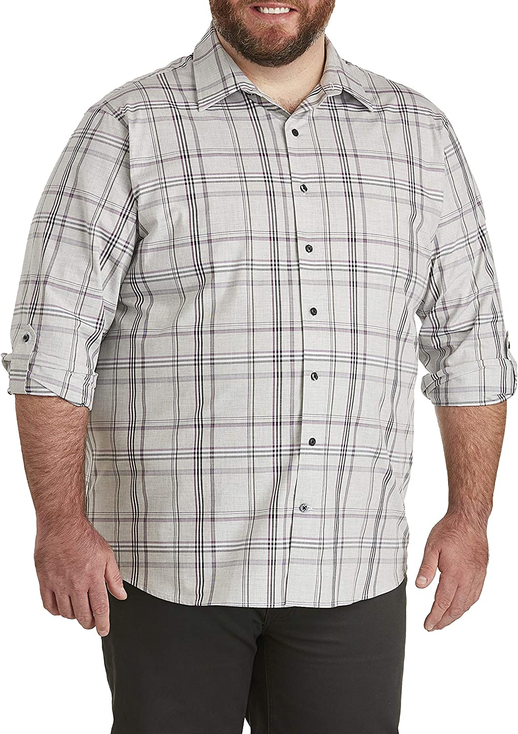 DXL Synrgy Big and Tall Roll Sleeve Large Plaid Sport Shirt, Grey Heather
