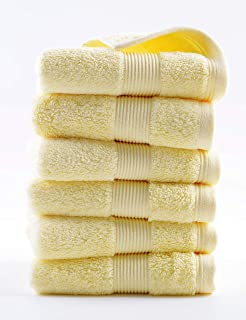 lvse Luxury 100% Egyptian Long-Staple Cotton Best European Hand Towel(1-Piece Packed),606GSM,Organic,Thick Fluffy Super Soft absorbently for Bathroom(36x 78cm,170g,Yellow)