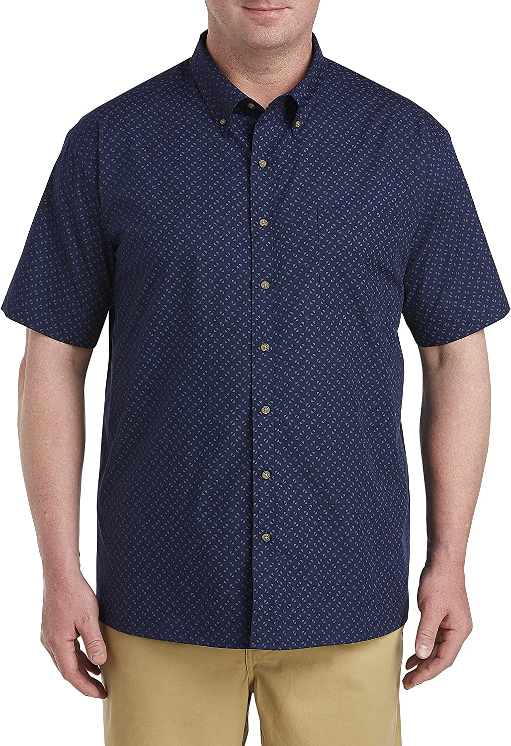 Harbor Bay by DXL Big and Tall Easy-Care Geo Print Sport Shirt